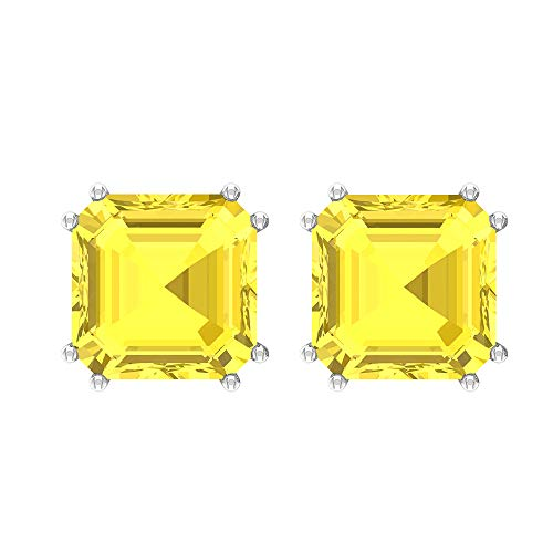 Asscher Stud Earrings, 6.3 CT Asscher Shaped 8 MM Lab Created Yellow Sapphire Solitaire Earrings, Asscher Cut Earrings, Gift for Girlfriend,18K White Gold, Pair
