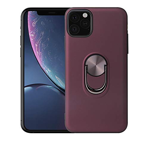 Apple iPhone 11 Case Cover. Military Grade Armor iPhone Case, with Magnetic Ring and Metal Car Mount Kickstand, 360 Degree Rotatable. Shockproof and Dual-Layer Protection. (Maroon, iPhone 11 Pro)