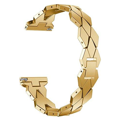 XIALEY Correa Ajustable De Acero Inoxidable para Fitbit Versa 2 / Versa/Versa Lite Banda De Reloj De Pulsera De Metal, Accesorios De Repuesto Brazalete Elegante Straps De Reloj De Cadena,Oro
