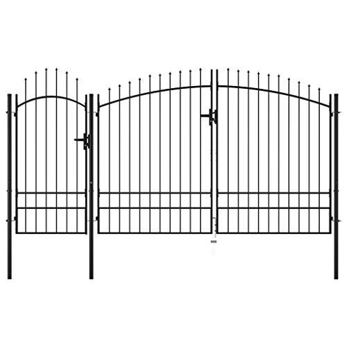 vidaXL Puerta de Jardín de Acero Casa Hogar Huerto Piscina Porche Cancela Pórtico Portillo Portón Abertura Entrada Salida Bricolaje 2,45x4 m Negro