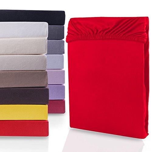 """#2 DecoKing Jersey Spannbettlaken, Spannbetttuch, Bettlaken, """"Nephrite Collection"""", 80x200 cm - 90x200 cm, Rot"""