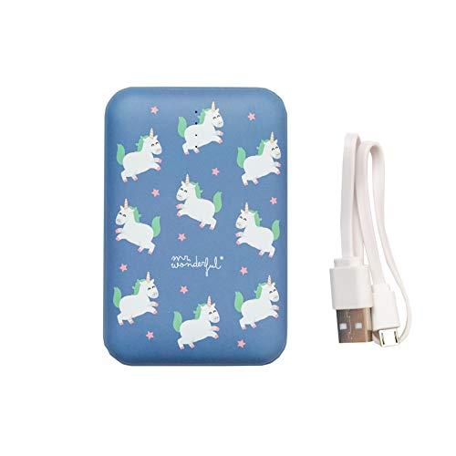 Mr. Wonderful MRPWB038, Batería Externa de 10.000 Mah con Diseño Unicorns, Talla única, Azul
