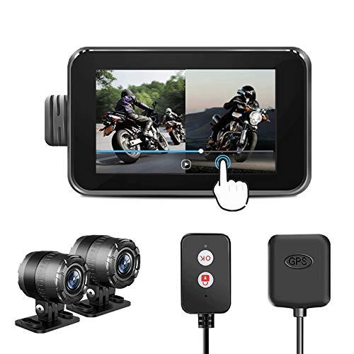 Motorcycle WiFi Dash Cam con pantalla táctil de 4 pulgadas, cámara de lente dual 1080P, grabadora de video de ciclo exterior con rastreador GPS, controlador de alambre, sensor G, grabación de bucle
