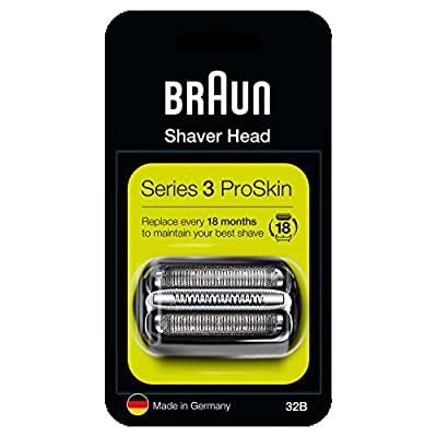 Braun Series 3 32B Electric Shaver Head Replacement - Black - Compatible with Series 3 Shavers ProSkin by Procter & Gamble
