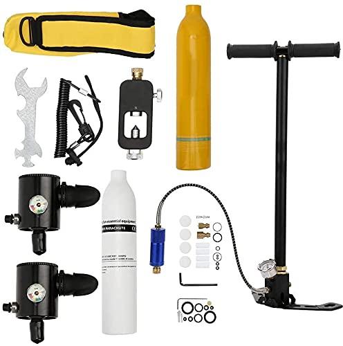 Qjkmgd 0.5L Botella de oxígeno respirador subacuático de 0.5L, equipo de buceo de buceo de buceo portátil, cilindro de buceo inflable, dispositivo de respiración de snorkel para buceo bajo el agua, re