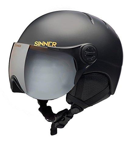 SINNER Crystal in-mold skihelm voor volwassenen, met vizier, mat zwart, XS