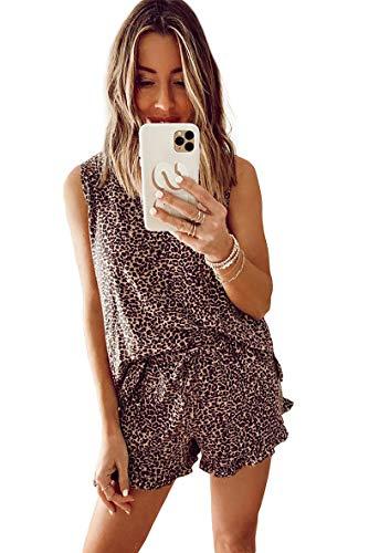 Loalirando - Conjunto de pijama corto para mujer o niña, camiseta e informal + pantalones cortos con volante Leopardo A small