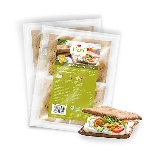 Lizza Low Carb Toasties | 4 Stück à 50g | Low Carb und bis zu 94% weniger Kohlenhydrate | Ohne Gluten | für Keto, Low Carb Diät sowie Muskelaufbau | Bio. Glutenfrei. Vegan. | 2x 200g