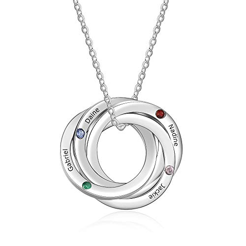 Cusume Jewellery 4 Round Silver Necklace for Women,Pendant for Mum Grandma BFF Name Necklace Chain Personalised Gifts,Customised Engraved 4 Family Names Necklaces 4 Simulated Birthstone Necklaces