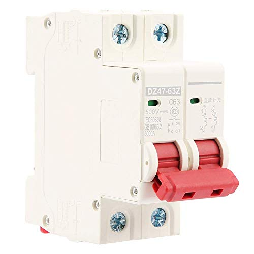FYYONG Interruptor de Circuito Mini 2P 63A 500V DC, Disyuntor miniatura residual del circuito de aire Corriente de fugas del protector de seguridad del adaptador de energía for la decoración del hogar