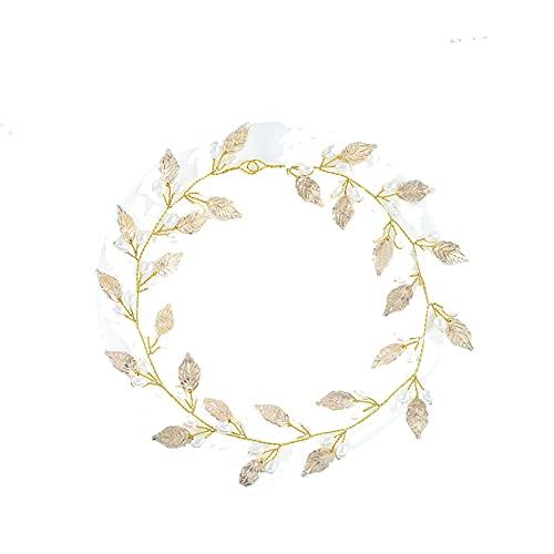 Bandeau de mariée en perles de feuille d'or rose, bandeau pour cheveux, accessoires de cheveux, coiffe de mariée, robe de mariée, accessoires de cheveux