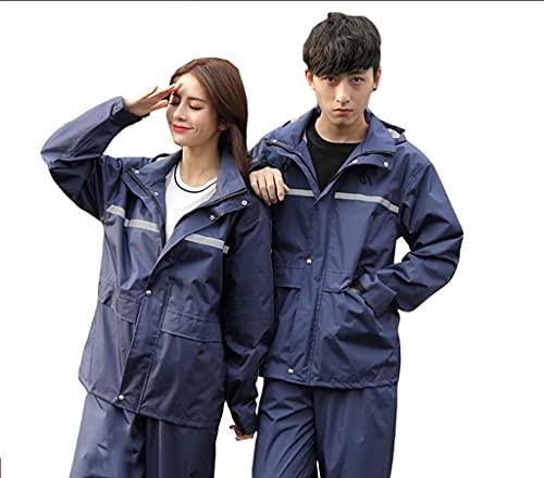 Impermeable y Pantalones de Lluvia, Impermeable de Cuerpo Completo en Verano, Lluvia Reflectante Poncho for Hombres y Mujeres de Bicicletas eléctricas. (Color : Blue, Size : M)
