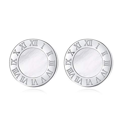 BOSAIYA Pendientes de acrílico acrílico de acrílico de acrílico para Mujer Hombres Joyería Vintage Números Romanos Pequeño Pendiente TL (Metal Color : Silver White 1)