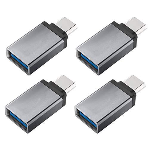 Adaptador USB C a USB, USB C macho a USB A hembra, conversión de Thunderbolt 3 a USB 3.1/3.0/2.0 para MacBook Pro, Chromebook, Pixelbook, Galaxy S8 S9 Plus Note 8 9, LG V40 G7 G6 (4PCS)