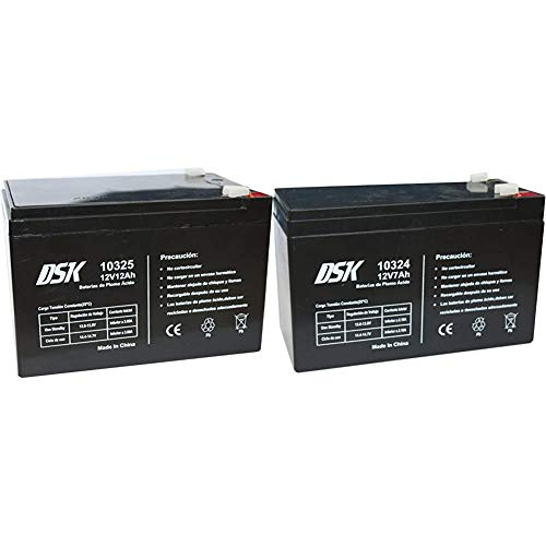 DSK Batería Plomo Acido 12V 12 Ah, Ideal para Alarmas Hogar, Juguetes...