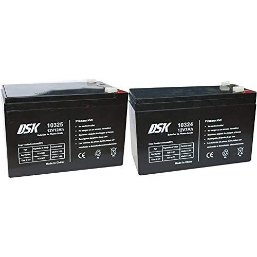 DSK Batería Plomo Acido 12V 12 Ah, Ideal para Alarmas Hogar, Juguetes Eléctricos, Cercads, Balanzas, Negro + 10324 - Batería Plomo Acido 12V 7 Ah, Negro
