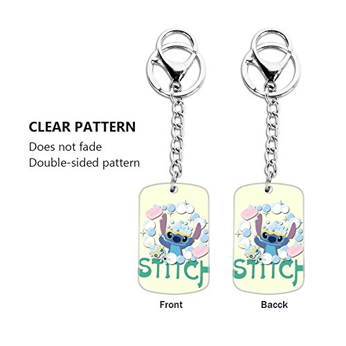 DISNEY COLLECTION Stich Blue Stitch Keychain Silver Handbag Purse Hanging Charms with Carabiner Clip Best Gift for Women Girls Men Husband Wife