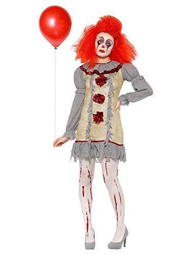shoperama Damen-Kostüm Vintage Clown Geist Killer Pennywise Halloween gruselig Horror Es Mörder gruselig boshaft, Größe:L