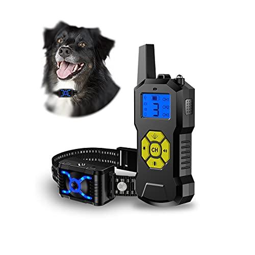 Bikirin Verbessertes Antibell Halsband mit 800M Fernbedienung, Wiederaufladbares Anti-Bell-Hundehalsbänder mit Spray/Vibration Modi für Hundetraining, für Kleine, Mittelgroße und Große Hunde