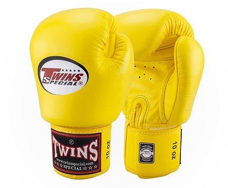 Boxhandschuhe mit Klettverschluss, echtes Leder , gelb, 18oz