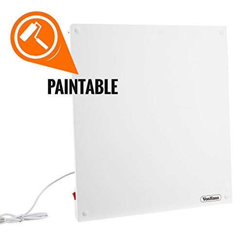 VonHaus 450W Wall Mounted Electric Flat Panel Heater – Paintable Slimline Low Energy Eco Ceramic...