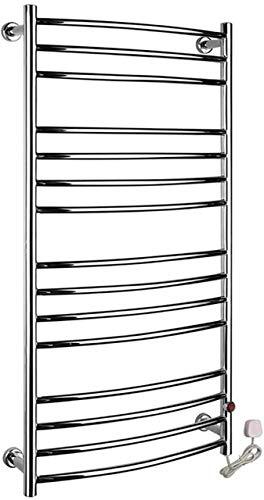 Rieles para toallas con calefacción Calentador de toallas, baño en casa, 15 barras, acero inoxidable, que ahorra espacio, enchufable, montado en la pared, toalla de tela, estante de secado con calefac