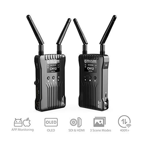 HOLLYLAND Mars 400S, SDI HDMI Video Transmitter Empfänger Set, drahtlose Bildübertragung Wireless Image Transmission, 122m Abstand, APP-Steuerung, 3 Szenenmodi, 1080P für DSLR Kamera Field Monitor