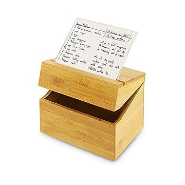 KOVOT Bamboo Recipe Box With Acrylic Recipe Card Holder