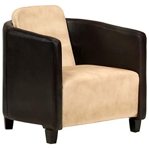 Extaum Sessel Lounge Polstersofa Ledersofa Echtledersessel Hellbraun und Schwarz/Grau Echtleder 66 x 70 x 67 cm