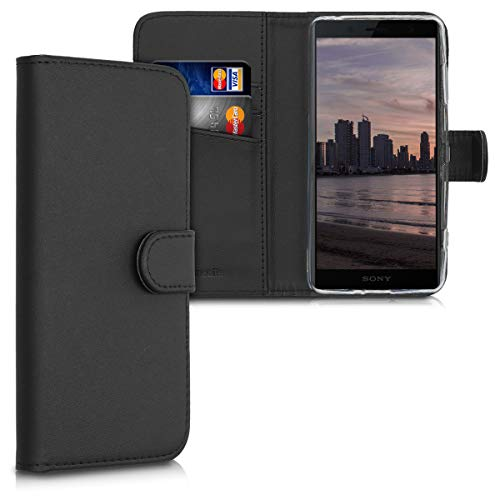 kwmobile Sony Xperia XZ2 Compact Hülle - Kunstleder Wallet Case für Sony Xperia XZ2 Compact mit Kartenfächern & Stand - Schwarz