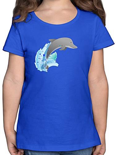 Tiermotive Kind - Kleiner Delfin - 128 (7/8 Jahre) - Royalblau - Kinder Shirt Delfin - F131K - Mädchen Kinder T-Shirt