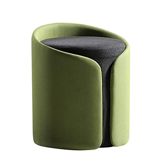 Round Linen Pouffe Foot Stool Ottoman Low Footrest, Soft Compact Padded Bench, Modern Sofa Padded Seat Vanity Chair, Living Room Or Bedroom – Decorative Furniture,Green