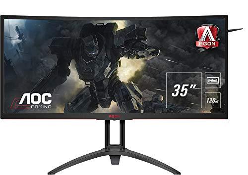 AOC AGON AG352UCG6 88,9 cm (35 Zoll) Curved Monitor (HDMI, USB Hub, 4ms Reaktionszeit, 3440 x 1440, DisplayPort, 120 Hz, Nvidia G-Sync) schwarz/rot