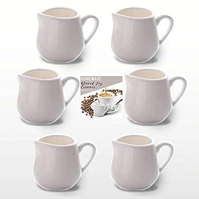 2 ounce Coffee & Tea Creamer Pitcher Set | 6 Mini Pitchers for Creamer 2 oz. | Tiny Syrup, Sauce, Salad Dressing Dispenser | Almond Joy Coffee Creamer Recipe (2 oz)