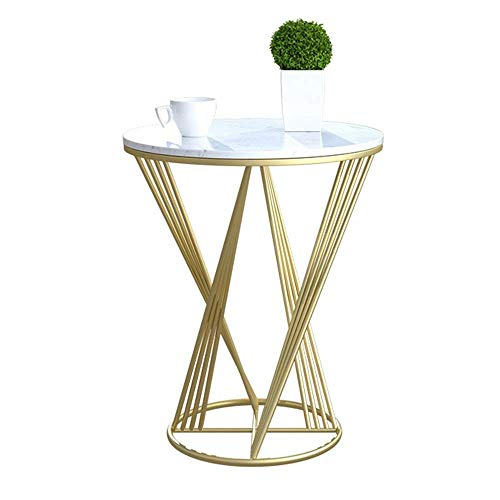 N/Z Life Equipment End Tables Side Table Marble Small Round Table Living Room Iron Art Sofa Side Table Corner Table Bedroom Bedside Table Balcony Coffee Table 19.6'' ;23.6'' (Color : Gold)