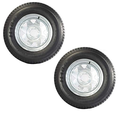 2-Pk Trailer Tire On Rim ST205/75D14 2057514 F78-14 5 Lug Spoke Wheel Galvanized