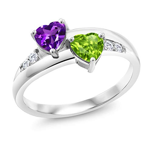 Gem Stone King 925 Sterling Silver Purple Amethyst and Green Peridot and Lab Grown Diamond Women Ring (0.98 Ct Heart Shape) (Size 9)