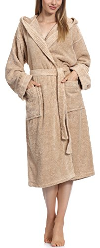 Ladeheid Ladeheid Damen Frottee Bademantel aus 100% Baumwolle LA40-102 (Beige (P02) (Gramatur 450), M)