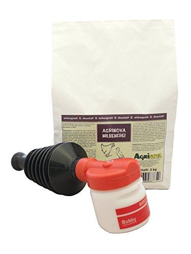 Agrinova Milbenfrei 2 kg + Handstäube-Gerät Bobby im Sparset zur Bekämpfung der Roten Vogelmilbe und Anderer Parasiten in der Tierhaltung, in Stallungen und in Räumen.