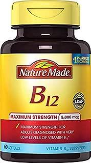 Nature Made Max Strength: Vitamin B12 5000 mcg Softgels 60 Count (2 Pack)