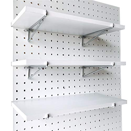 Pegboard Shelf Set -3 Extra Heavy Duty Pegboard Shelves & Durable Steel Brackets 1/4'Holes -White Stain-Resistant Peg Board Organizer Shelves -Pegboard Accessories for Home,Garage,Nursery