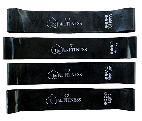 Best Mini Loop Resistance Bands for Legs and Butt, arms and Shoulders_ Set of Four Different Strength with Carrying Bag_ Super Thick and Non Slip Fitness Bands for Women and Men.