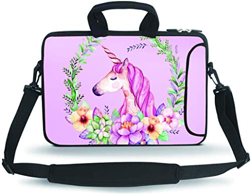 RUYIDAY 11 11.6 12 12.5 13 inches Case Laptop/Chromebook/Ultrabook/MacBook pro air Notebook PC Messenger Bag Tablet Travel Case Neoprene Handle Sleeve with Shoulder(Cute Unicorn)