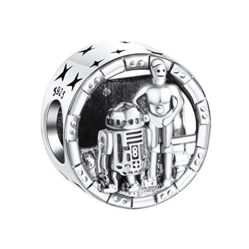 Annmors Abalorios Charms Colgantes de C-3PO and R2-D2 Cuentas Plata de Ley 925 con Compatible con...