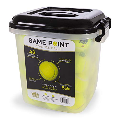 48-count Tennis Balls, Bulk Set in Portable Storage Bucket | 48 Pressurized, Regulation Balls in Visible Optic Yellow Ball Color, Numbers 1-4 | Tennis Accessories for Training, Practice & Match Play