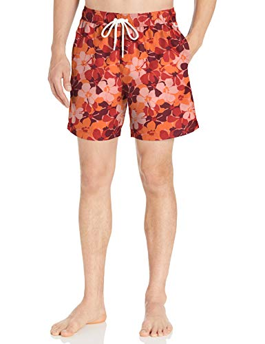 "Amazon Essentials Men's 7"" Swim Trunk, Red Floral Camo, Medium"