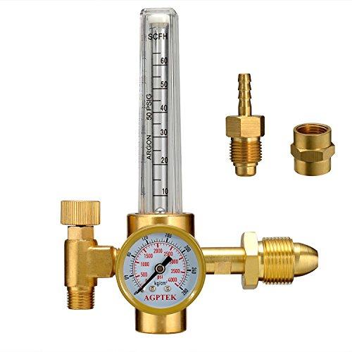 AGPTEK Mig/Tig Flow Meter Regulator, CO2 Argon Pressure Reducer Gauge Weld Flowmeter - Full Copper - 10 to 60 cfh
