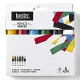 Liquitex Set de rotuladores acrílicos Punta Ancha, Colores clásicos, 15 mm, 6 Unidades