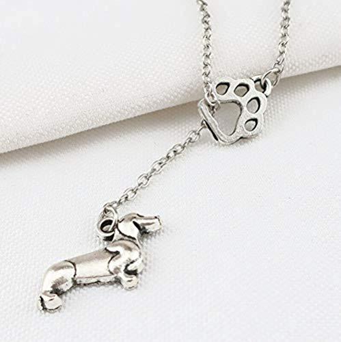 BEISUOSIBYW Co.,Ltd Collar Vintage Sweet Animal Paw Huellas de Mascotas Collares Pendientes Fabricación de Metal Perro Gato Eslabón Gargantilla Wen Souvenir Regalo Joyería