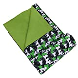 Wildkin Kids Sleeping Bags for Boys and Girls, Measures 66 x 30 x 1.5 Inches, Cotton Blend Materials Sleeping Bag for Kids, Ideal Size for Parties, Camping & Overnight Travel, BPA-free (Green Camo)